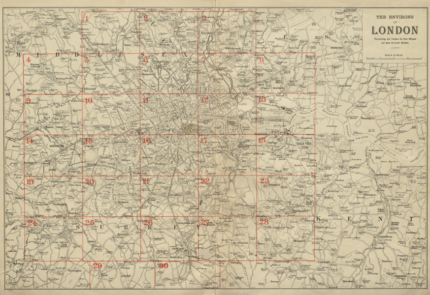 Associate Product GREATER LONDON ENVIRONS. General Index map to detailed maps. BACON 1900