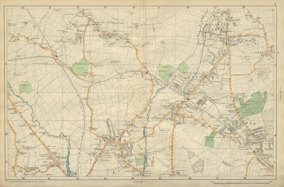 Associate Product FINCHLEY/HENDON. Mill Hill,Colindale,Colney Hatch,Fortis Green.BACON 1900 map