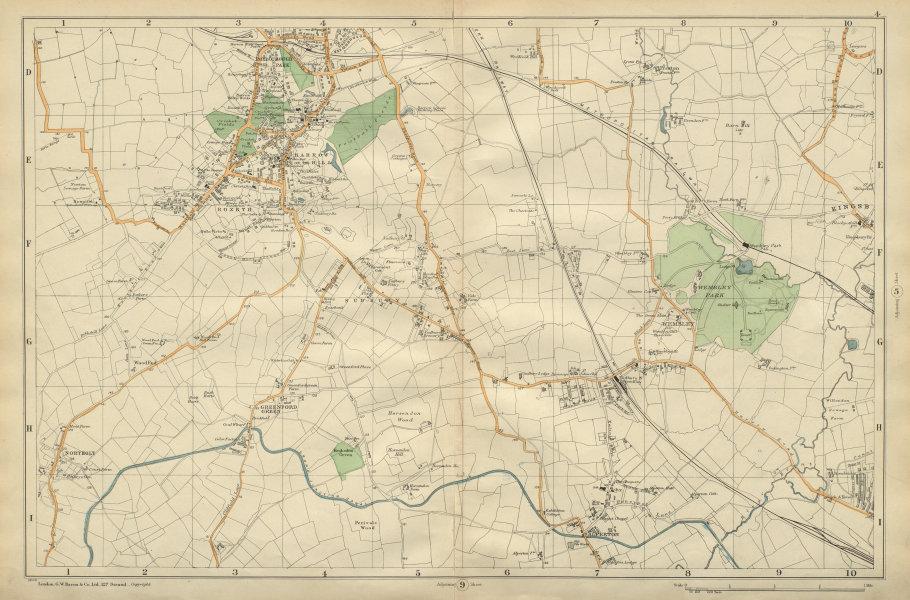 Associate Product HARROW WEMBLEY BRENT Sudbury Greenford Northolt Kenton Alperton BACON 1900 map