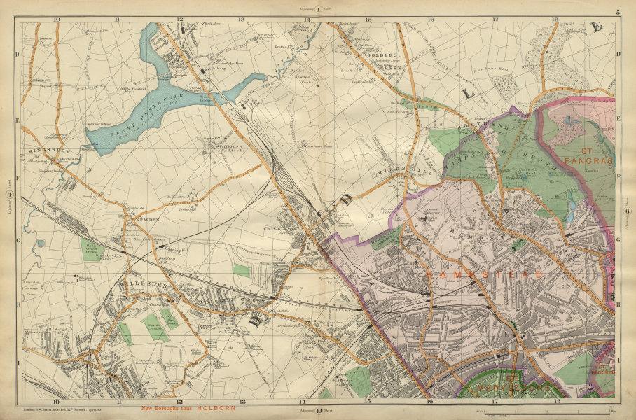 HAMPSTEAD WILLESDEN Cricklewood Golders Green Kilburn Belsize Pk BACON 1900 map
