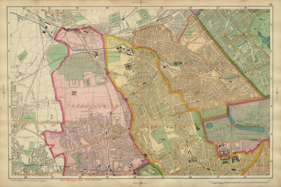 Associate Product LONDON Notting Hill Kensington St Johns Wd Hammersmith Bayswater BACON 1900 map