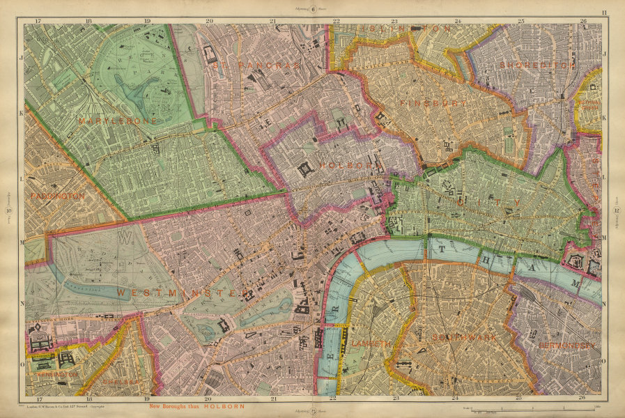 Associate Product CENTRAL LONDON West End City Southwark Westminster Shoreditch BACON 1900 map