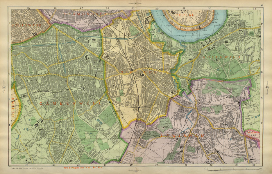 Associate Product LONDON SOUTH Camberwell Greenwich Deptford Lewisham Southwark BACON 1900 map