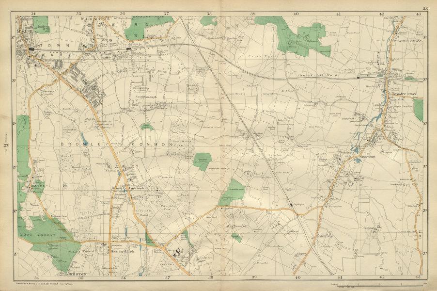 Associate Product BROMLEY & ORPINGTON Hayes Petts Wood Keston St Paul's Mary Cray BACON 1900 map