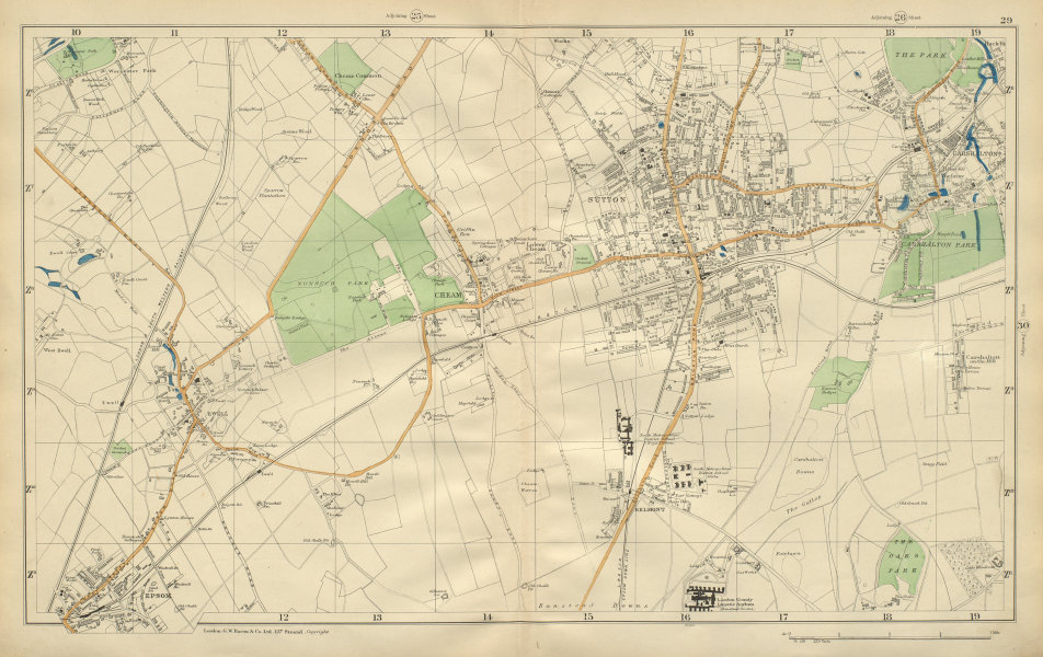 Associate Product SUTTON Cheam Epsom Belmont Carshalton Ewell Banstead Downs BACON 1900 old map