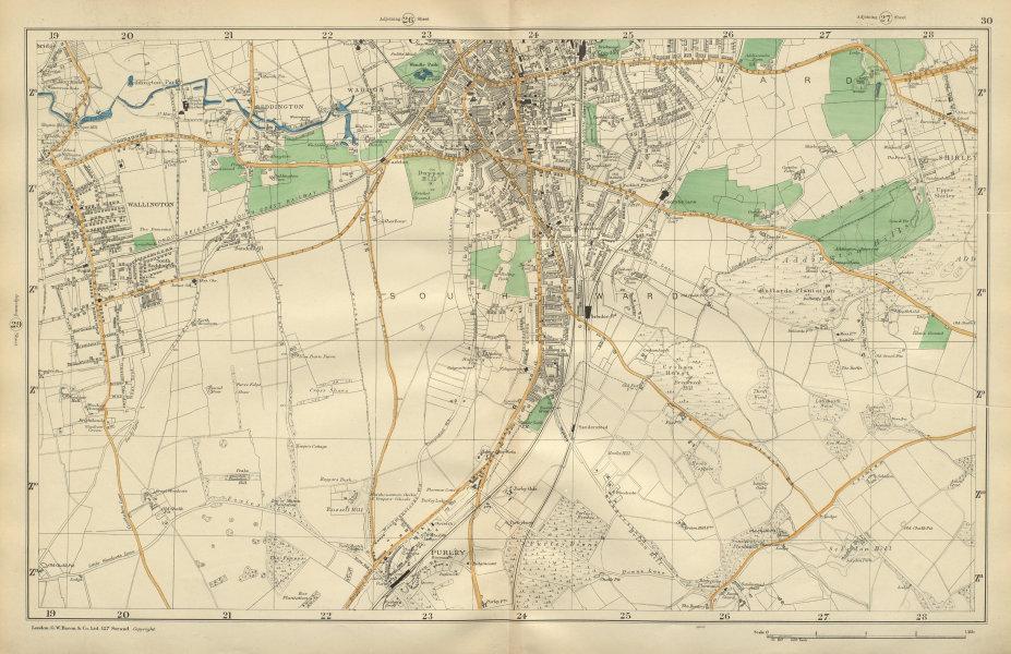Associate Product SOUTH CROYDON Carshalton Wallington Waddon Beddington Purley BACON 1900 map