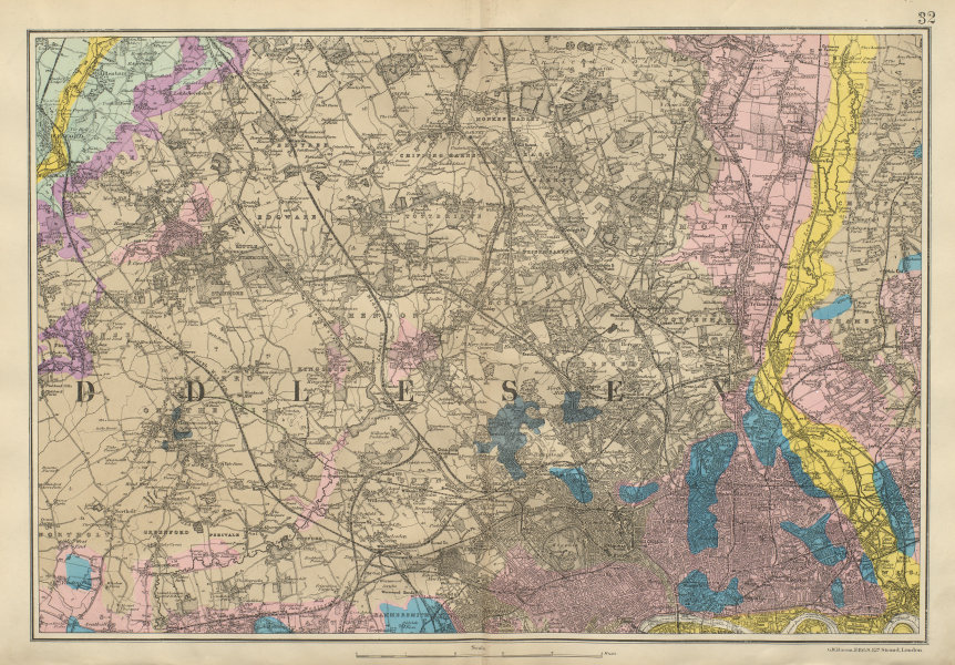 Associate Product NW LONDON GEOLOGICAL Westminster Islington Brent Ealing Camden BACON 1900 map