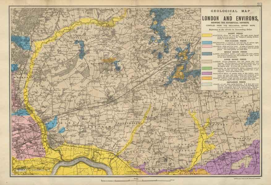 Associate Product NE LONDON GEOLOGICAL Essex Redbridge Newham Barking Dagenham &c BACON 1900 map