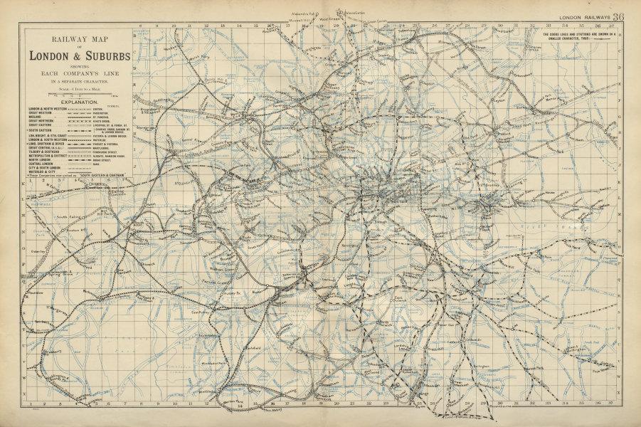 Associate Product LONDON RAILWAYS Shows companies & termini Tube Underground BACON 1900 old map