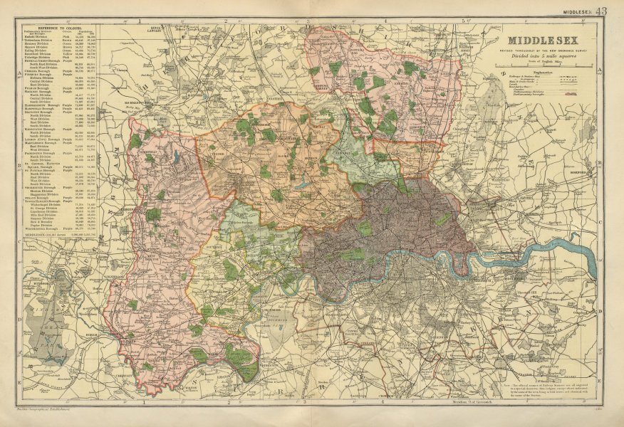 Associate Product MIDDLESEX inc LONDON.County map.Parliamentary constituencies.Railways.BACON 1900