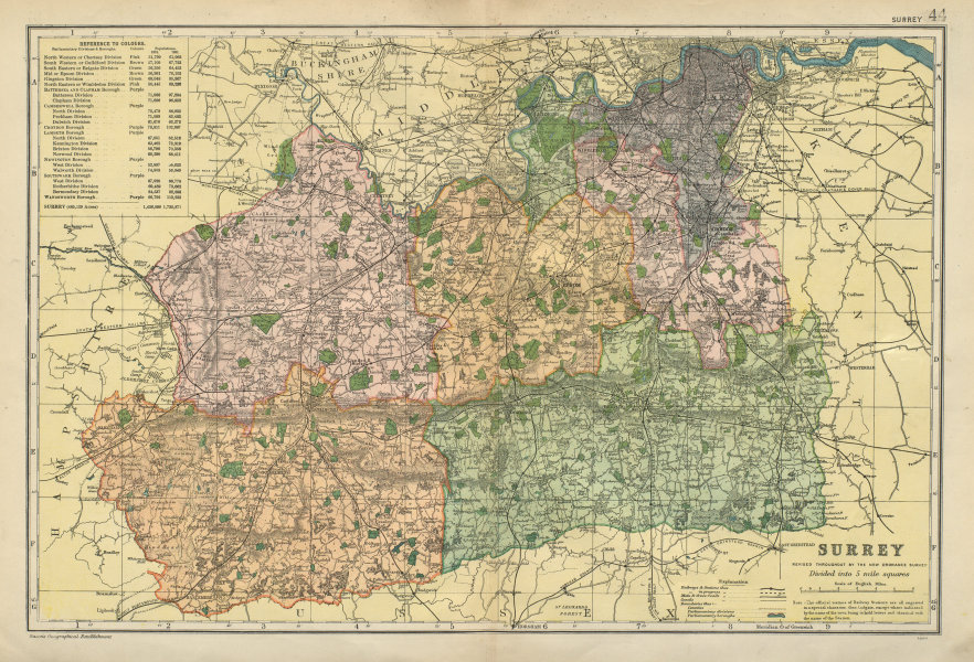 Associate Product SURREY. County map. Parliamentary constituencies divisions. Railways. BACON 1900