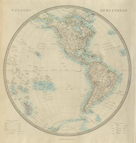 Associate Product WESTERN HEMISPHERE. The Americas; Pacific Ocean; New Zealand. SDUK 1874 map