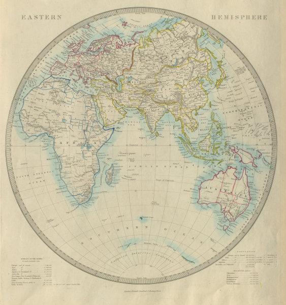 Associate Product EASTERN HEMISPHERE. Europe Africa Asia Australia. SDUK 1874 old antique map