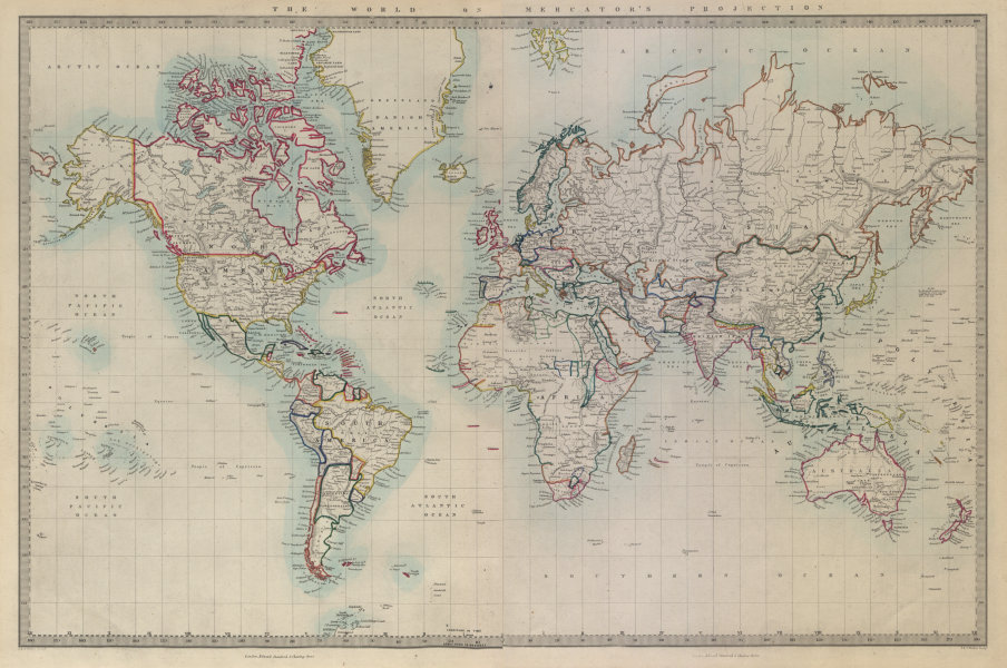Associate Product WORLD ON MERCATOR'S PROJECTION on 2 sheets conjoined. SDUK 1874 old map