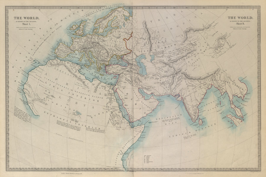 Associate Product WORLD KNOWN TO ANCIENTS. Herodotus Ptolemy Pliny Hanno. SDUK 1874 old map