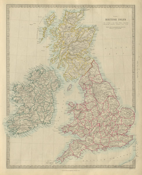 Associate Product BRITISH ISLES. United Kingdom & Ireland. Counties towns rivers. SDUK 1874 map