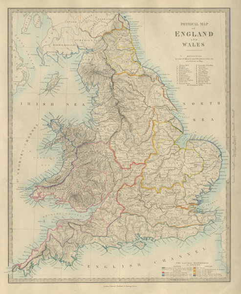 Associate Product ENGLAND & WALES Physical. Watersheds. River drainage basins. SDUK 1874 old map