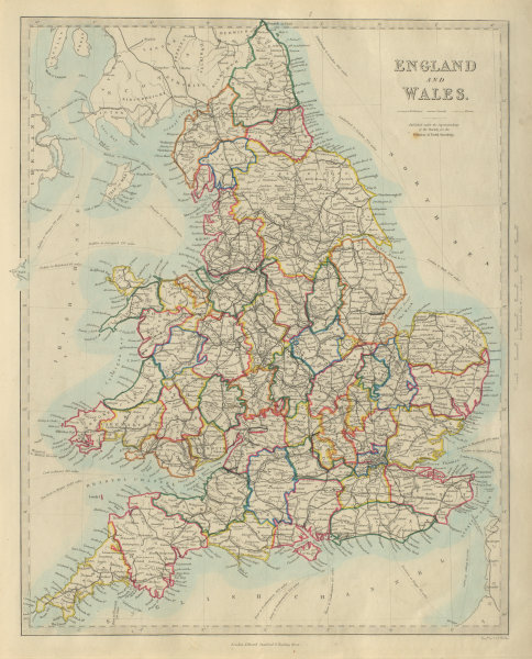 Associate Product ENGLAND AND WALES. Canals, rivers, railways & counties. SDUK 1874 old map