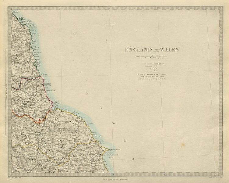 Associate Product NORTH EAST ENGLAND Coast. North York Moors. Yorkshire Durham &c. SDUK 1874 map