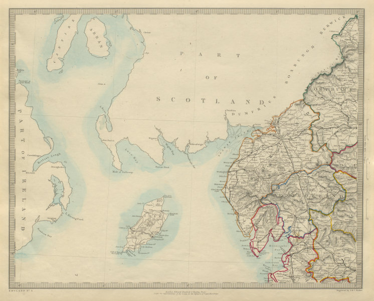 Associate Product NORTH WEST ENGLAND. Lake District Isle of Man Cumbria Westmorland. SDUK 1874 map