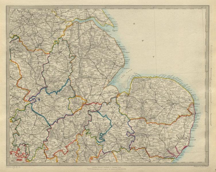 Associate Product ENGLAND EAST. Norfolk Suffolk Cambs Lincs Leics Derbys Notts. SDUK 1874 map