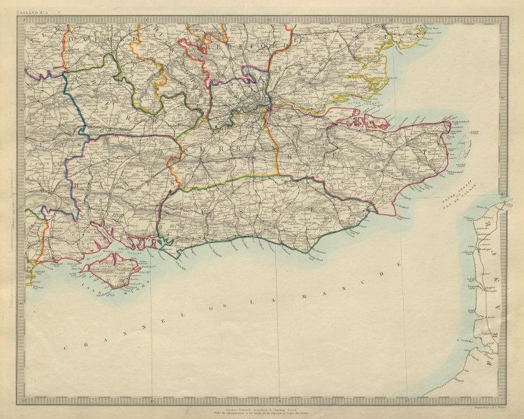 Associate Product SOUTH EAST ENGLAND. London & Home counties. Railways. South coast. SDUK 1874 map