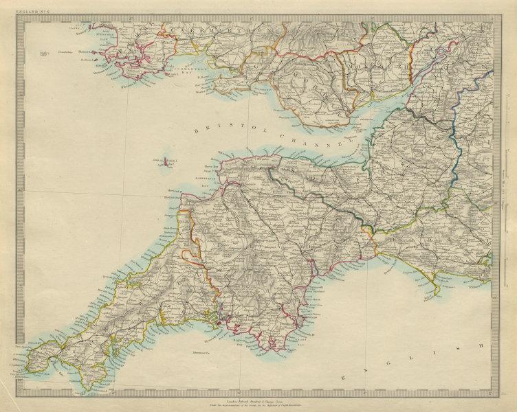 Associate Product ENGLAND SOUTH WEST & S WALES. Cornwall Devon Somerset Dorset. SDUK 1874 map