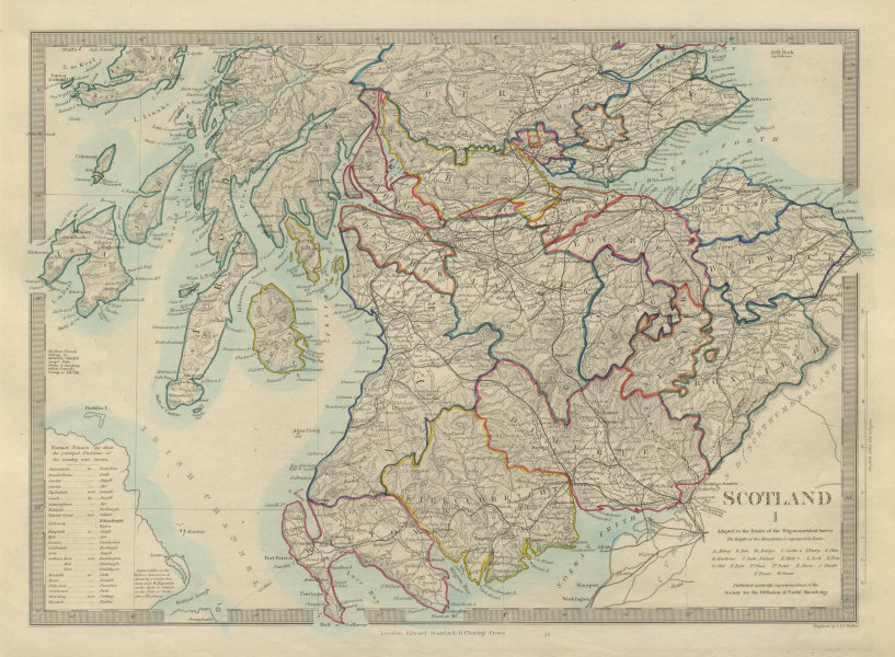 Associate Product SCOTLAND SOUTH. Shows castles & kirks. Inset former county names.SDUK 1874 map