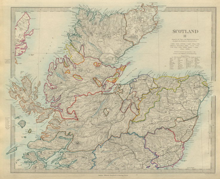 Associate Product SCOTLAND NORTH. Shows castles & kirks. Inset former county names.SDUK 1874 map