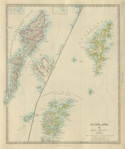 Associate Product SCOTLAND ISLANDS. Western Isles. Orkneys, Shetlands and Hebrides.SDUK 1874 map