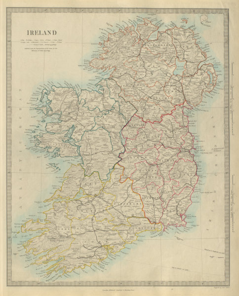 Associate Product IRELAND showing roads and railways. SDUK 1874 old antique map plan chart