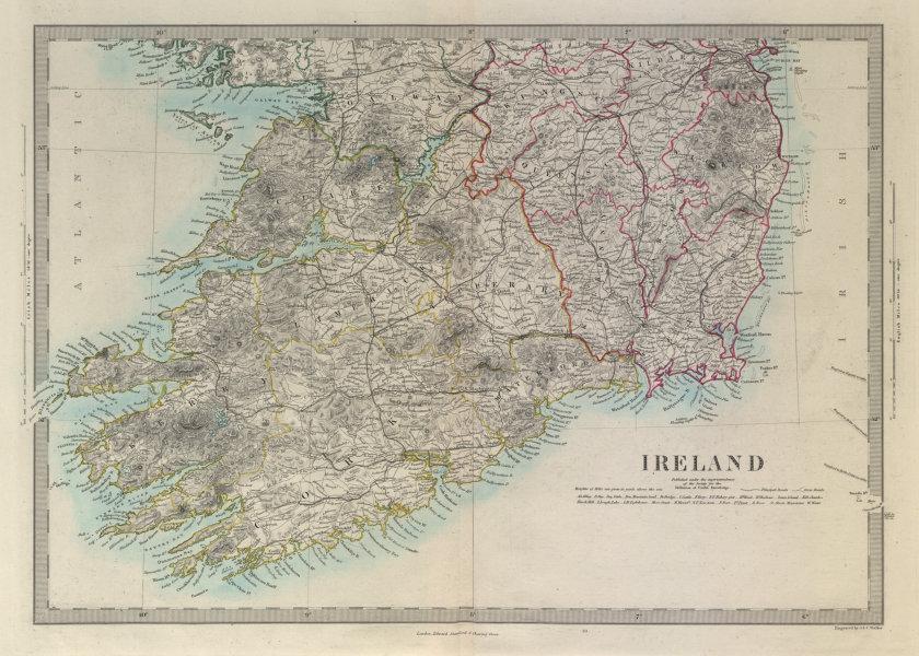 Associate Product IRELAND South Sheet. Munster Leinster. Churches railways. SDUK 1874 old map