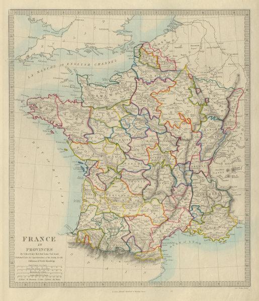 Associate Product FRANCE IN PROVINCES. Shows provinces <1790. Original hand colour.SDUK 1874 map