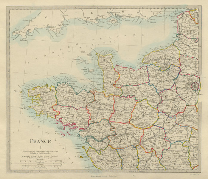 Associate Product FRANCE NORTH WEST. Bretagne Normandie Loire Centre.Hand coloured.SDUK 1874 map