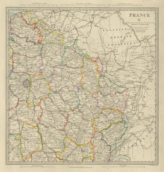 Associate Product FRANCE N EAST. Champagne Alsace Lorraine Picardie Bourgogne Nord.SDUK 1874 map