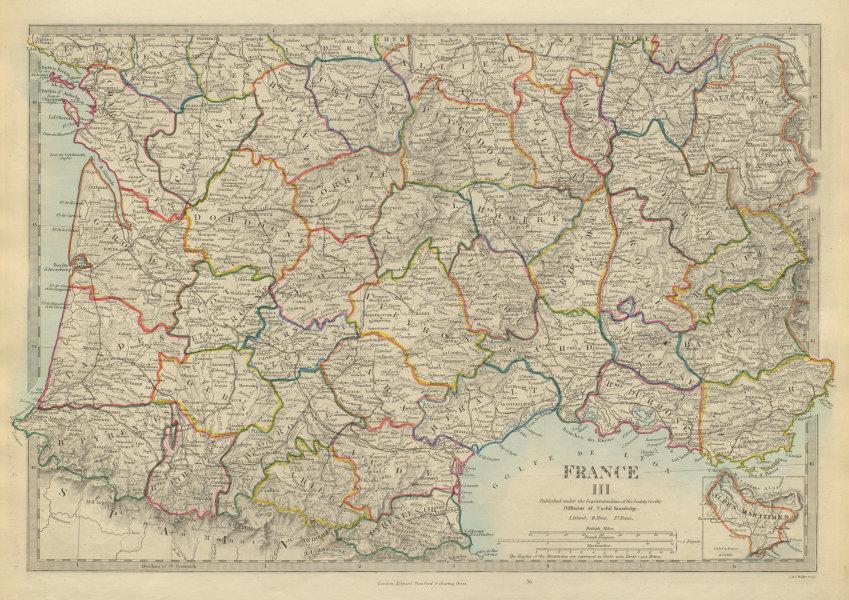 Associate Product FRANCE SOUTH Aquitaine Pyrénées Provence Languedoc Rhône Auvergne.SDUK 1874 map