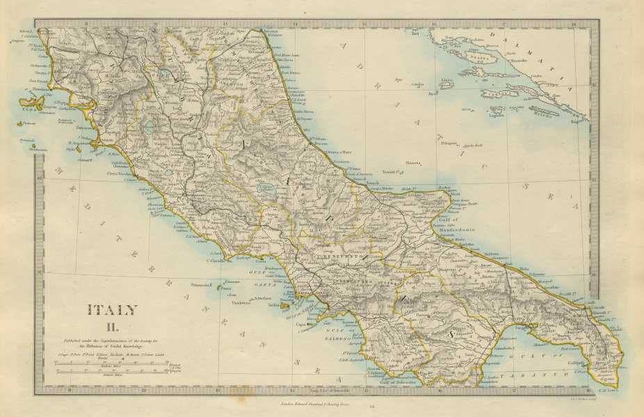 Associate Product ITALY SOUTH Naples Umbria Tuscany Napoli. The Marches. SDUK 1874 old map