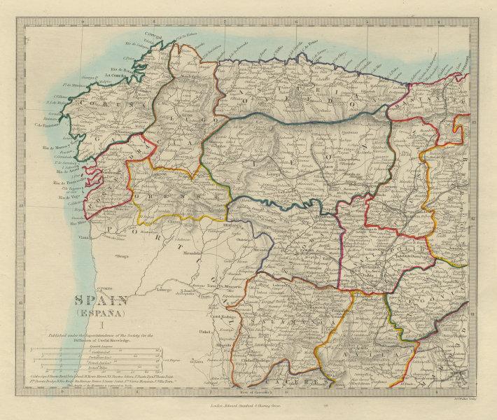 Associate Product SPAIN NW. Galicia Leon Asturias Zamora Palencia Toro Salamanca. SDUK 1874 map