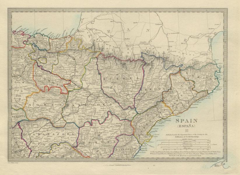 Associate Product SPAIN NORTH EAST Cataluna Aragon Soria Navarra Bizcaya Guipozcoa SDUK 1874 map