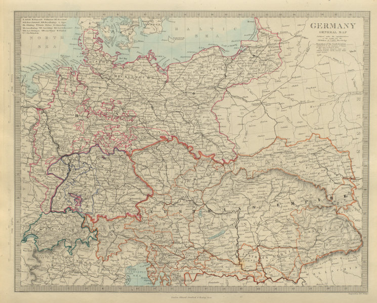 Associate Product Newly unified GERMANY & AUSTRIAN EMPIRE General Map. Hungary. SDUK 1874