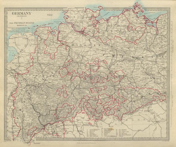 Associate Product GERMANY DEUTSCHLAND Holstein Hanover Mecklenburg Prussia Saxony SDUK 1874 map