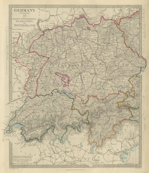 Associate Product GERMANY SOUTH, SWITZERLAND AUSTRIA Baden Württemberg Bavaria Tyrol SDUK 1874 map