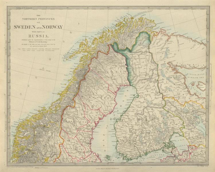 Associate Product SCANDINAVIA Northern Sweden & Norway, Finland, Karelia & Murmansk. SDUK 1874 map