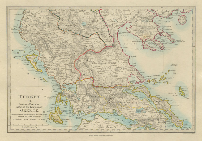Associate Product GREECE Corfu Ionian Euboea Kephalonia Saloniki Yania Roumelia SDUK 1874 map