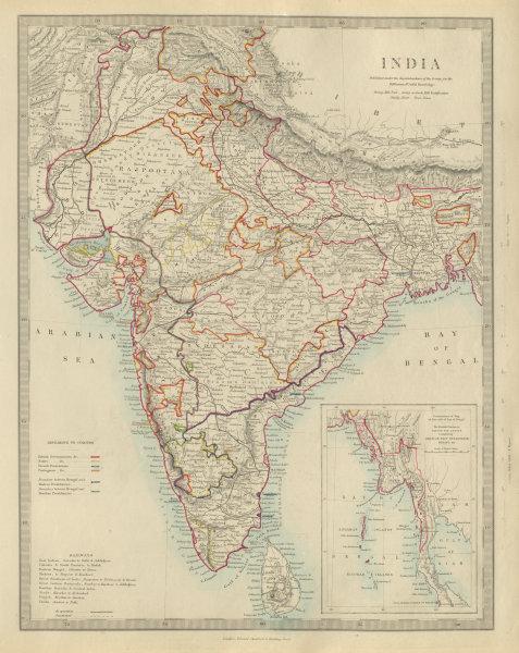 Associate Product BRITISH INDIA showing French Portuguese native states. Railways. SDUK 1874 map