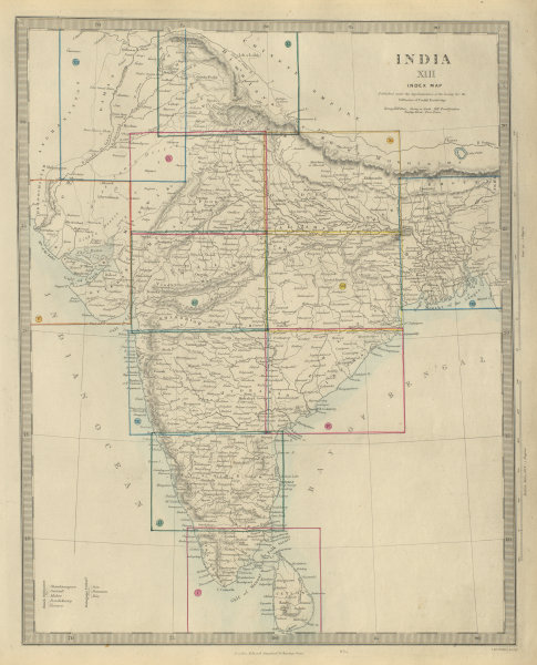 Associate Product BRITISH INDIA index map. Lists French & Portuguese possessions. SDUK 1874