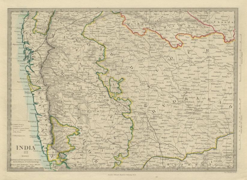 Associate Product BOMBAY & HYDERABAD. Aurangabad Bijapur Mumbai Goa. SDUK 1874 old antique map