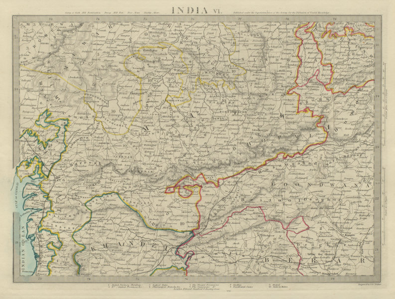 Associate Product INDIA Madhya Pradesh Gujarat Malwa Khandeish Goondwana Bhopal SDUK 1874 map