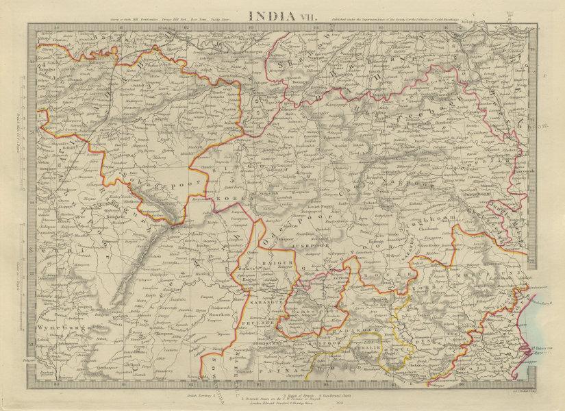 INDIA EAST Odisha Jharkhand Chhattisgarh Madhya Pradesh Varanasi. SDUK 1874 map