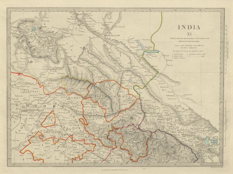 INDIA PAKISTAN Jammu Kashmir Ladakh Himachal Pradesh Punjab Lahore SDUK 1874 map